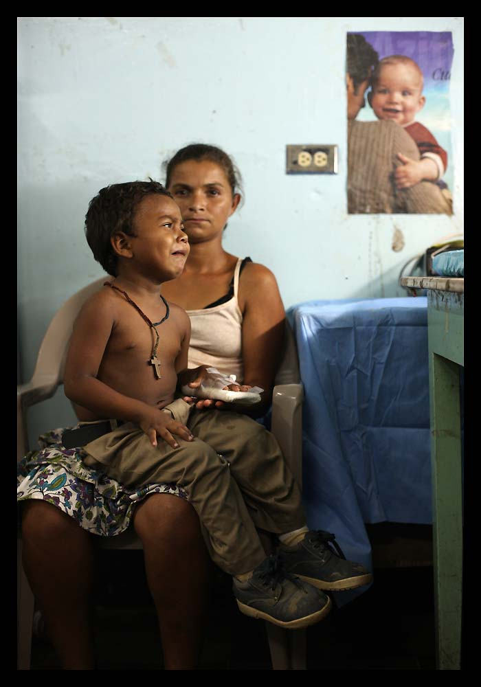 Suyapa Zelaya, 14, and three-year-old son Jose in the children's ward of the hospital in Ocotal, Nicaragua. Jose has pneumonia.